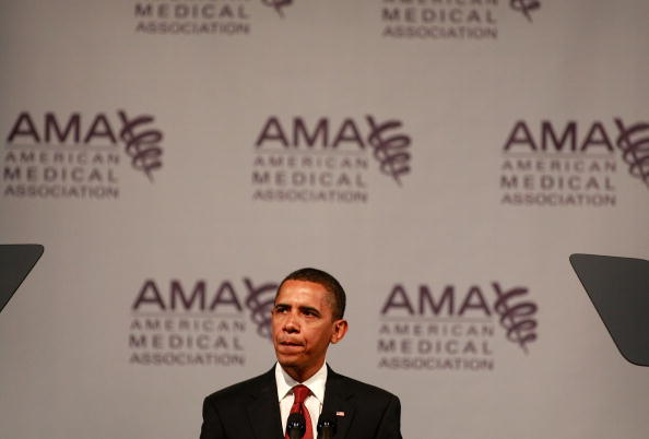 Former President Obama speaks to the American Medical Association