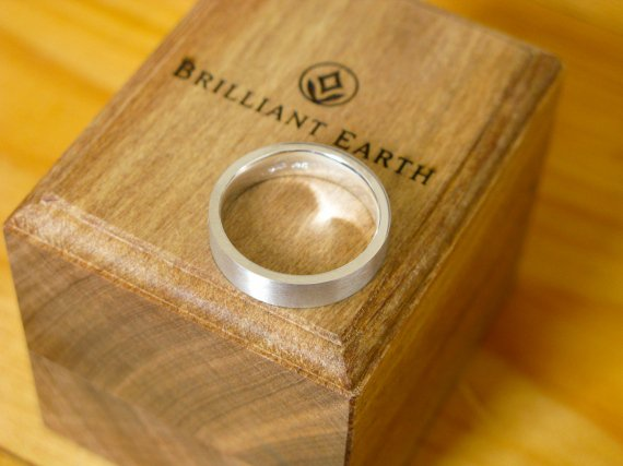 A picture of a plain white gold ring from Brilliant Earth