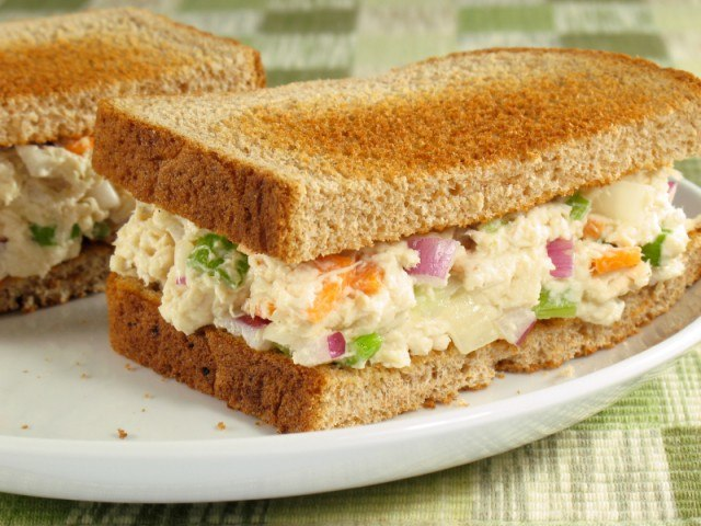 use rotisserie chicken to make chicken salad sandwiches