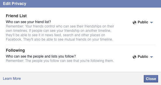 Edit Privacy of Facebook Friends List