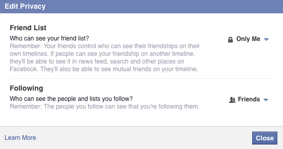 Editing Privacy of Facebook Friends List