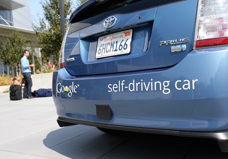 A Google self-driving car is displayed at the Google headquarters on September 25, 2012 in Mountain View, California. California Gov. Jerry Brown signed State Senate Bill 1298 that allows driverless cars to operate on public roads for testing purposes. The bill also calls for the Department of Motor Vehicles to adopt regulations that govern licensing, bonding, testing and operation of the driverless vehicles before January 2015. (Photo by Justin Sullivan/Getty Images)