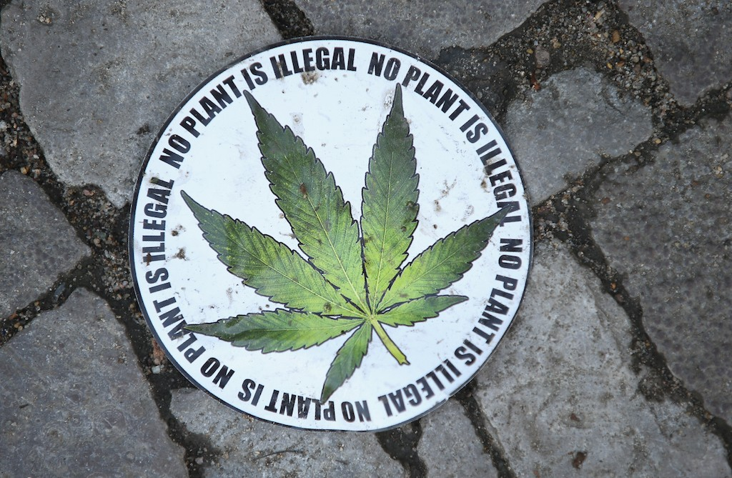 A sticker calling for the legalization of marijuana lies on the street