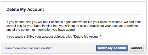 How to delete my account in fb