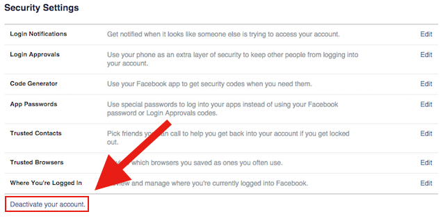 Steps to deactivate your Facebook account