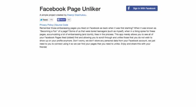 Facebook Page Unliker
