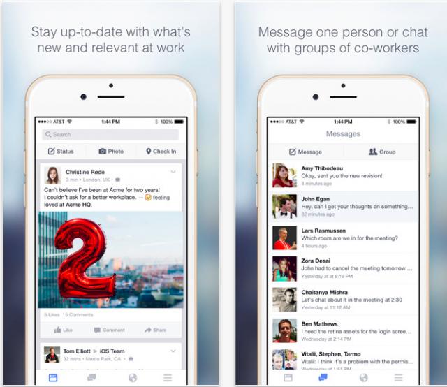 Facebook at Work iOS app