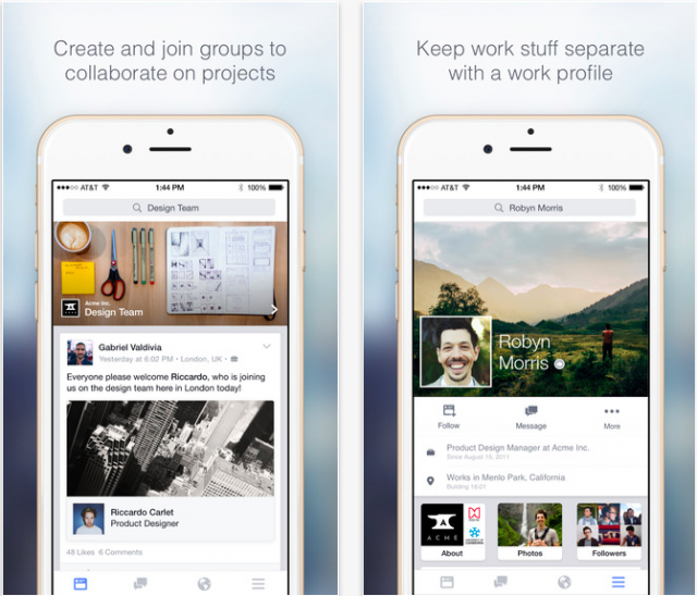 Facebook at Work iOS app