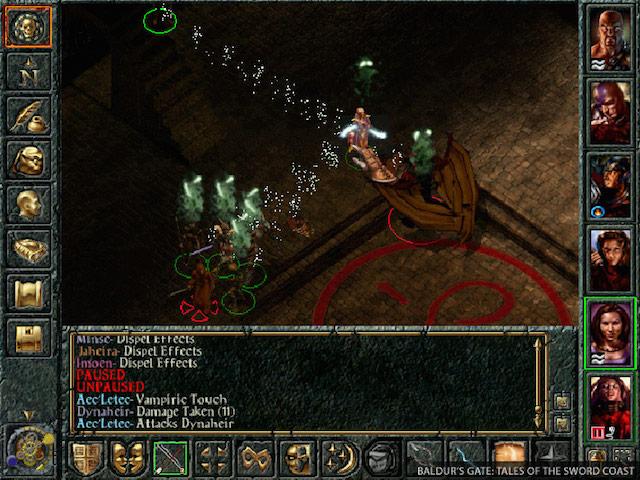 A screenshot from the classic computer role-playing game Baldur's Gate.