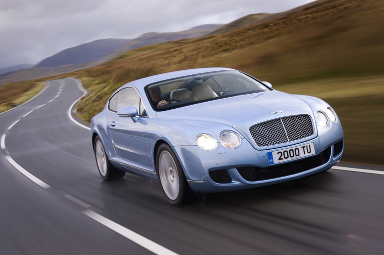 View of Bentley Continental GT on winding European road