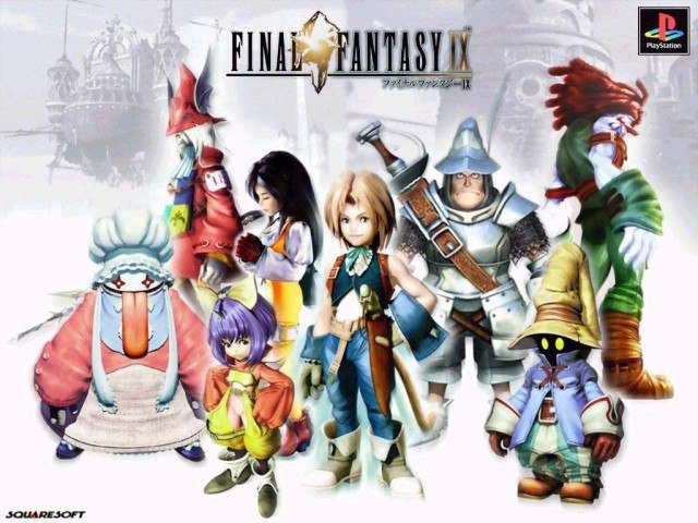 The cast of this expansive RPG stand on a white surface.