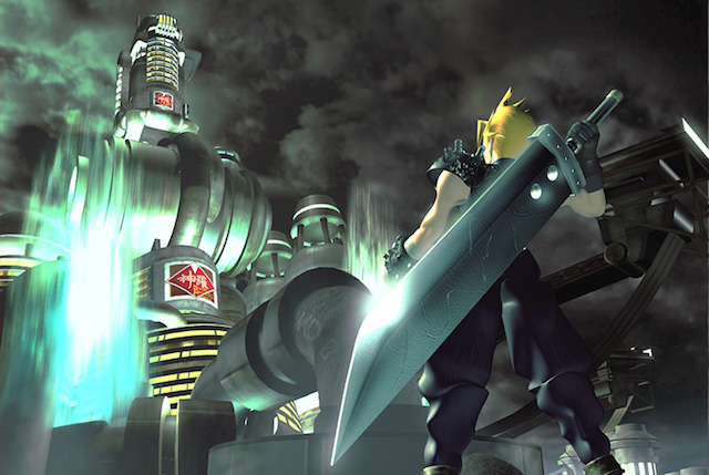 Cloud Strife stands with his giant sword, ready for a fight.