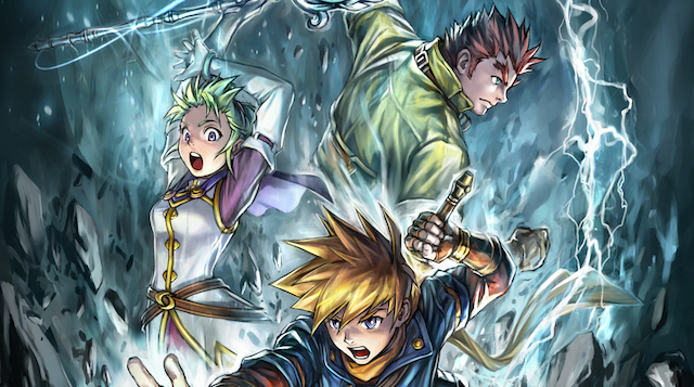 The heroes of this Game Boy Advance role-playing game stand in a storm.