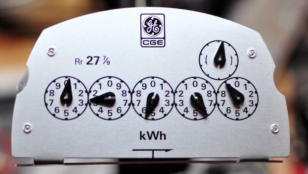 five-dial analogue kWh meter fascia