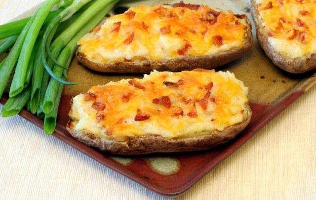 potato skins, bacon, cheese