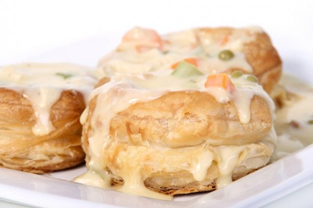 Chicken vol-au-vent, biscuit, sandwich