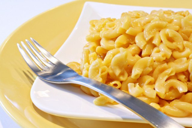 mac and cheese on a plate with fork