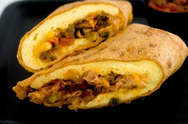breakfast wrap with eggs and bacon