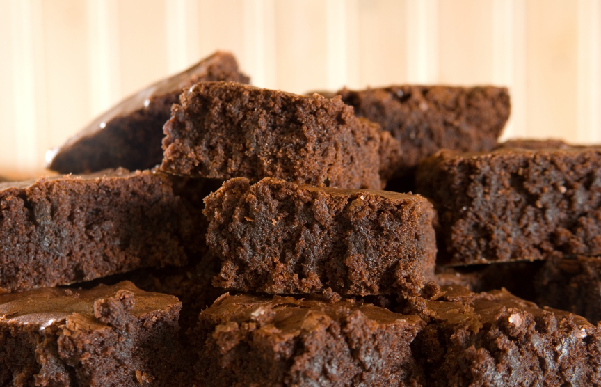 stack of rich, chocolate brownies, which can be made into a coffee dessert