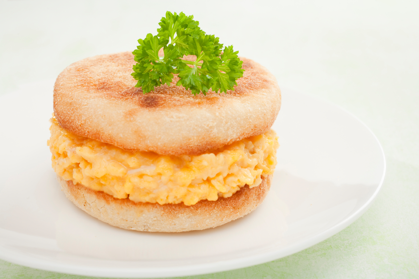 Scrambled Egg and Toasted English Muffin Sandwich