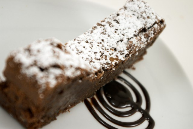 Chocolate Brownie Cake, powdered sugar