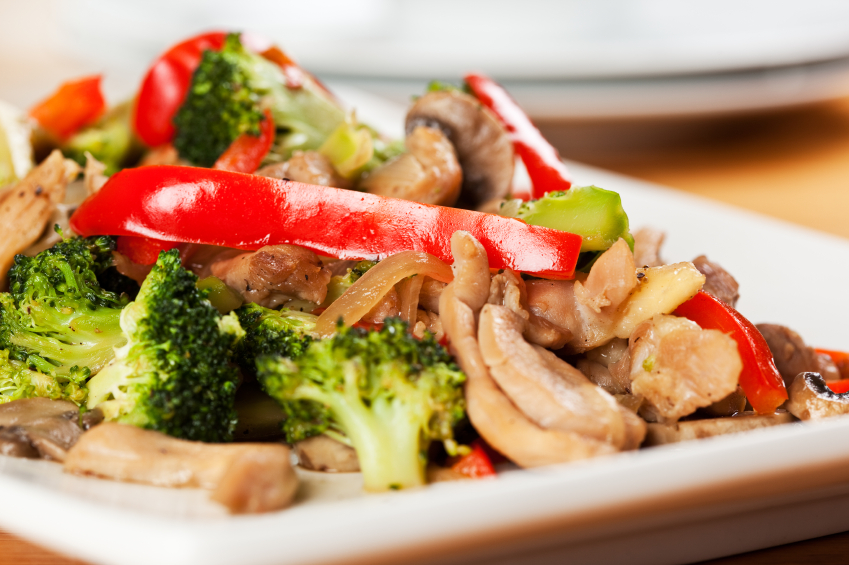 Chicken broccoli stir fry, peppers