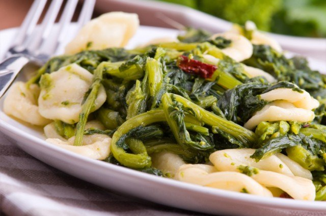 Orecchiette pasta with greens, turnip tops.