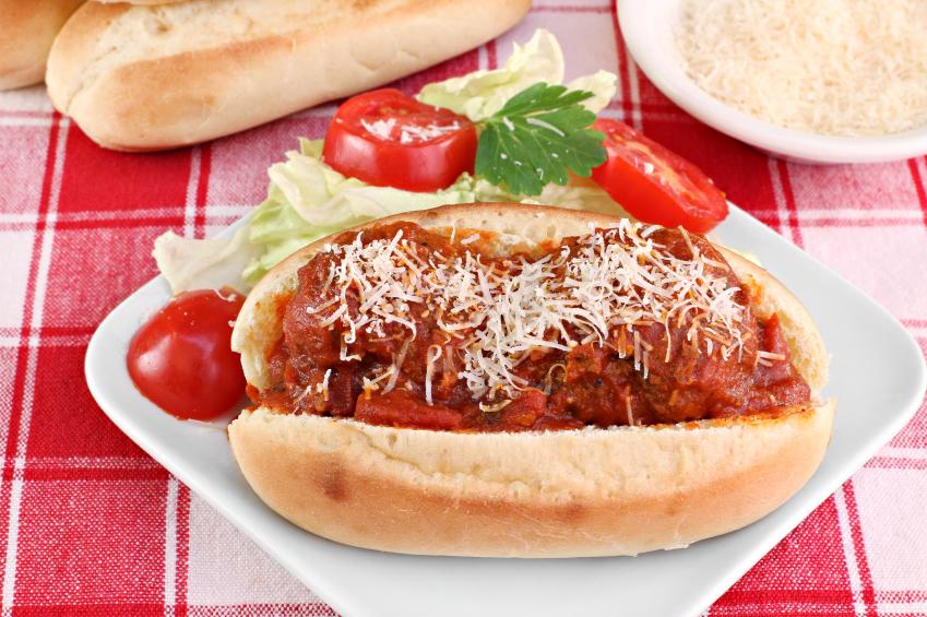 Meatball parmesan sub sandwich
