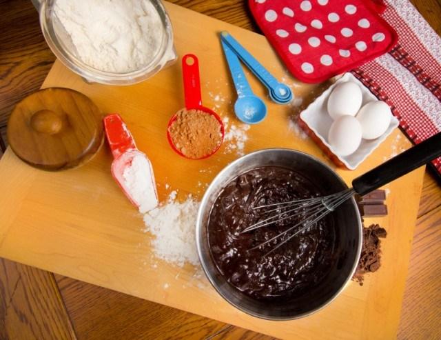 Baking, chocolate, flour, eggs, sugar