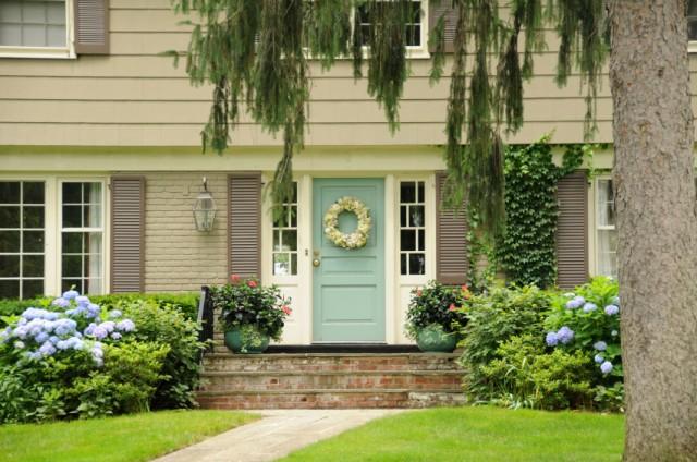 Green front door, house