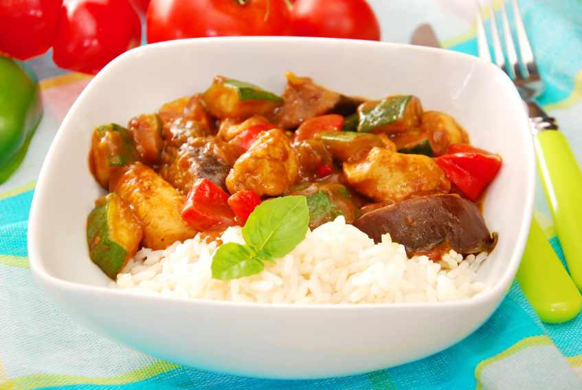 chicken and vegetable curry with rice