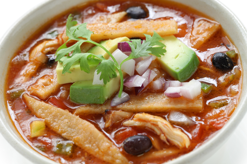 Tortilla soup, avocado, chicken
