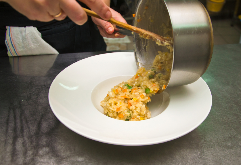 cooking risotto with peas