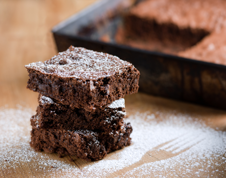 chocolate brownies dusted with powdered sugar