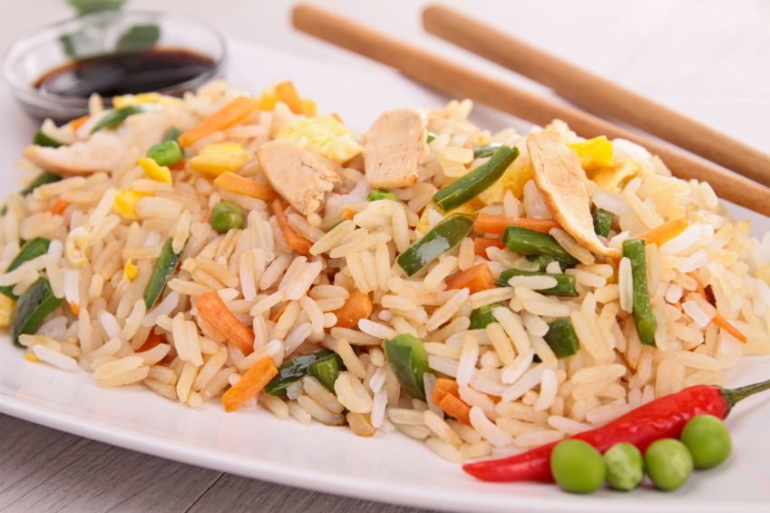 vegetable fried rice, peas, carrots, chicken