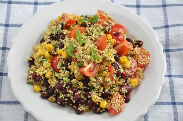 quinoa with beans, corn, and tomatos