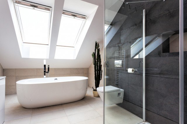 modern bathroom with clear shower door