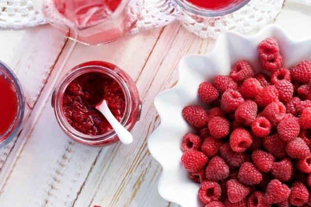 Raspberries, jam, jelly, preserves