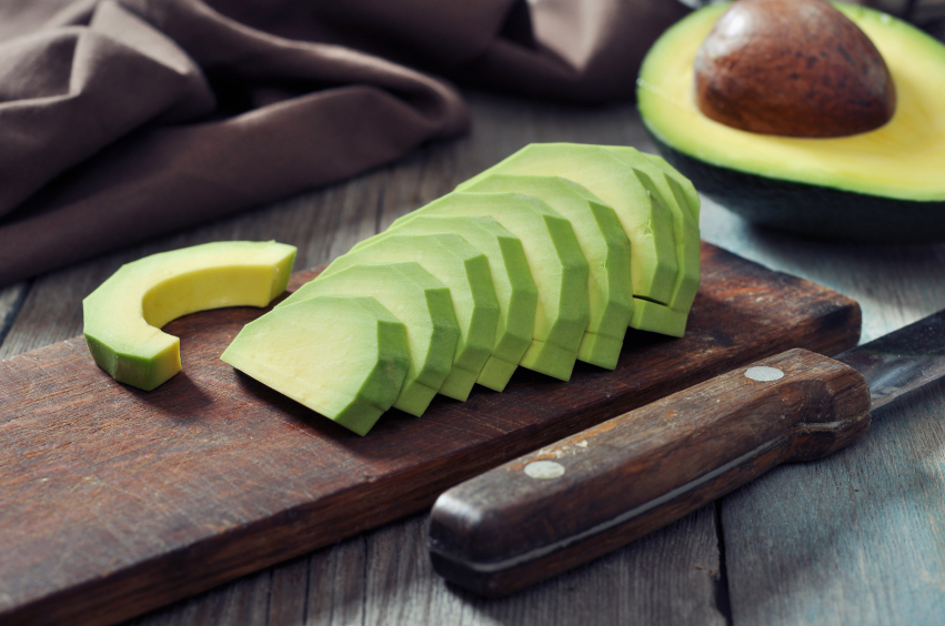 Sliced avocado that provides healthy fats