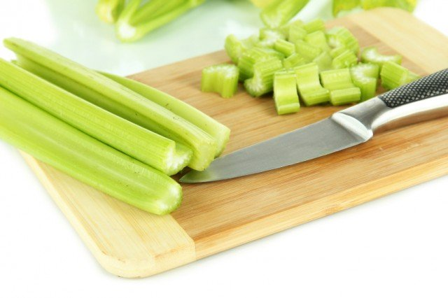 Celery on cutting board