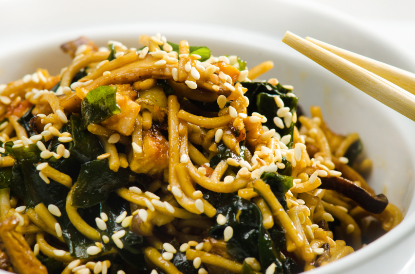 Spicy almond soba noodles with edamame