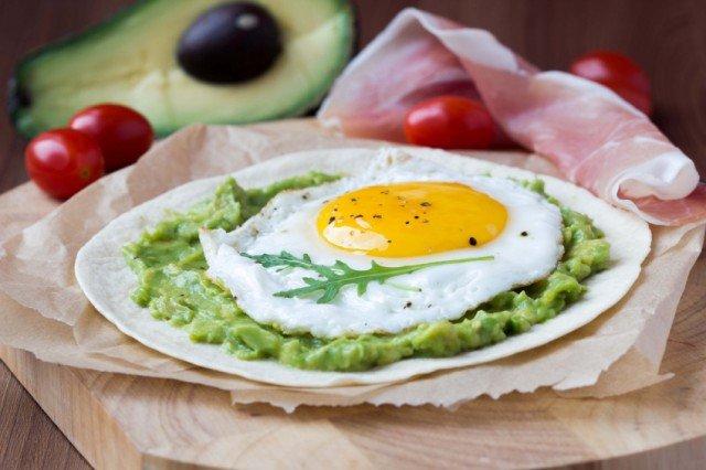 fried egg and avocado, tortilla