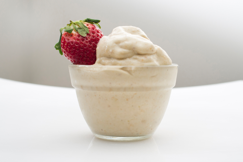 Banana Ice Cream with a strawberry