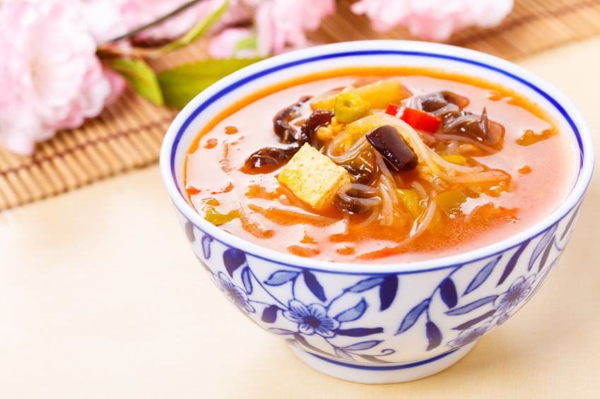 chinese hot and sour soup, rice noodles