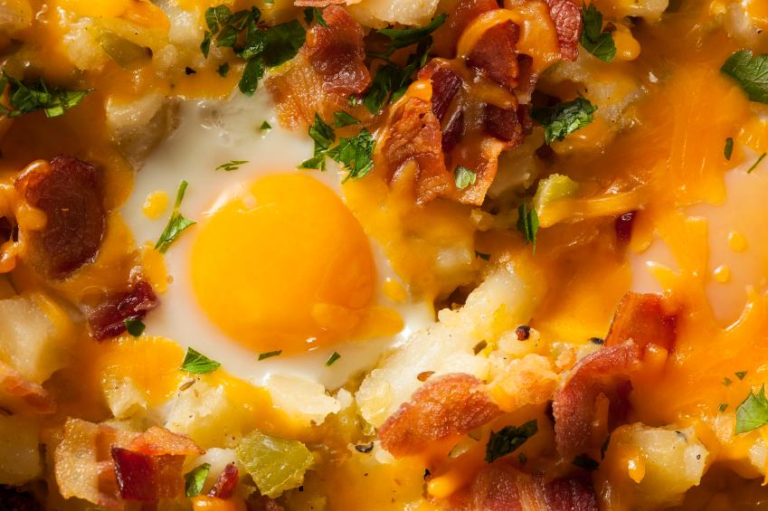 Breakfast Skillet, eggs, bacon, potatoes