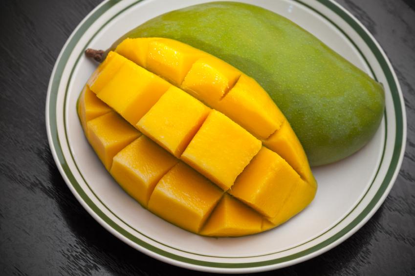 Peeled, sliced mango