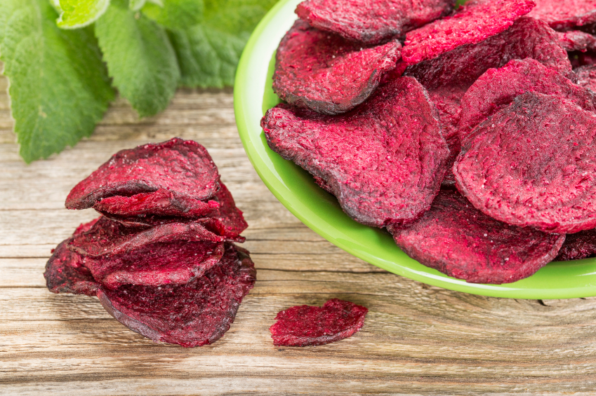 Pre-packaged beet chips