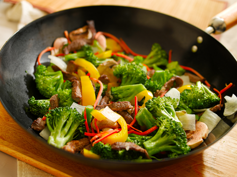 wok stir fry, vegetables, broccoli, peppers
