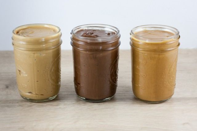 three jars of homemade peanut butters