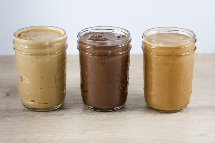Peanut butter, hazlenut spread, and cashew butter